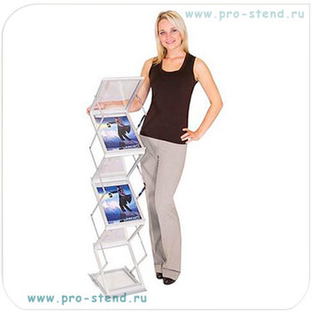 Буклетница с прозрачными акриловыми карманами, складная, в чемодане (пластик под металл)