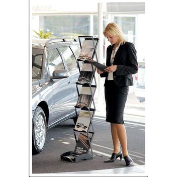 прекрасная современная буклетница для автосалонов, выставок и конференций