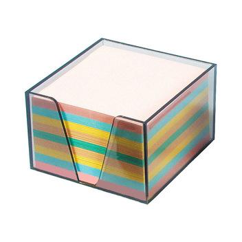 Кубарик прозрачный тонированный, 9*9*4,5 см. с бумажным цветным блоком
