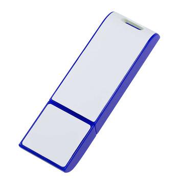 Эффектная сине-белая флешка с большой поверхностью для нанесения логотипа