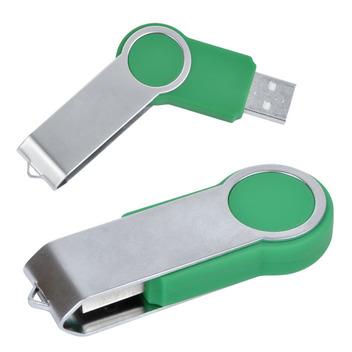 Зеленая флешка с алюминиевым корпусом