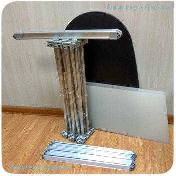Стол-ресепшен в разобранном виде компактный и удобен для перевозки и хранения