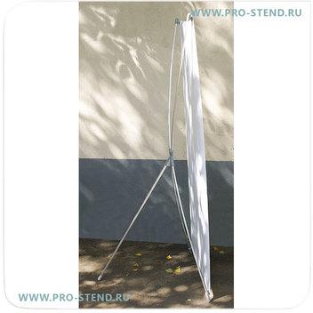 Икс-баннерный стенд российского производства из алюминия, с пластиковыми крючками.