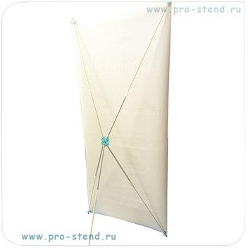 икс баннер стенд с голубыми пластиковыми деталями