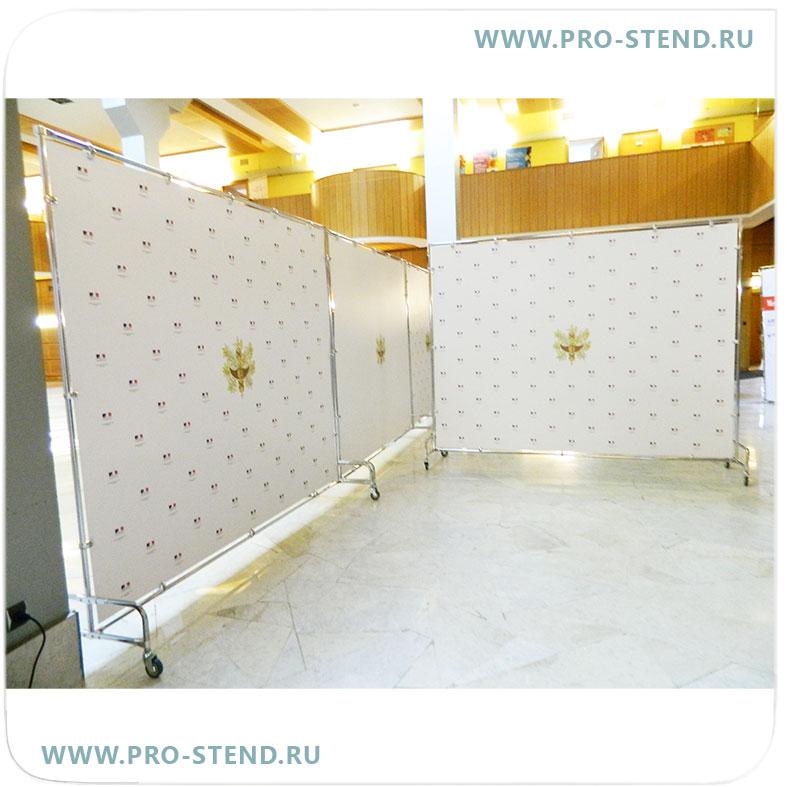 Main photo of СТЕНД-ШИРМА PRESS WALL, тип 3, однотрубный, с пластиковой панелью, на колесах